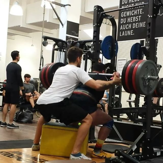 Coaches need coaching too !Box Squat 220 kg for 3 Reps PRToday I trained with my friend business partner and coach @niksfit We used the Sponge Bob Box.Worked up to 200 and 220 kg for 3 RepsBefore that :5x70/100/120/140/160/180It's important to have a coach no matter what your goals are.It motivates gives you certainty makes you stronger mentally and physically.So think about what you are worth to yourself and start investing in YOU!Also #follow @niksfit  @kerstinclessienne @sascha_molt for great #insights#squat #squats #kniebeugen #legs #boxsquats #training #powerbuilding #lifting #bodybuilding #fitness #rawpowerlifting #westsidebarbell #back #glutes #safe #painfree #exercise #trainhard #powerlifting #puretraining #sachsenhausen #personaltraining #coach #control #earnednotgiven #rehband